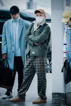 J-Hope of BTS at Incheon airport heading to Nagoya, Japan || Hobi.... well, the jacket is nice. And Rapmon with his overalls