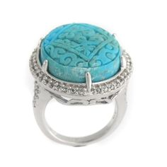 Rarities Carved Turquoise & White Sapphire Sterling Oval Ring Size 7 M733 #RaritiesFineJewelrywithCarolBrodie #Fashion