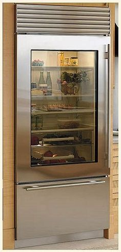 glass door refrigerators residential | ... Freezer Refrigerator Stainless Steel Glass Door, Tubular Handles