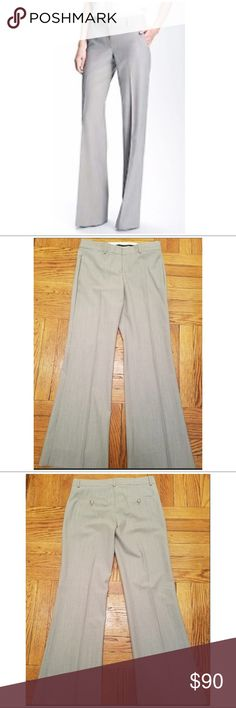 """Theory dress pants Wool blend very good used condition, light gray wide leg slacks. 2 front side slip pockets and 2 back pockets. Front button, metal clasp and zip closure. Measurements length 38"""", inseam about 29"""". Theory Pants Wide Leg"""