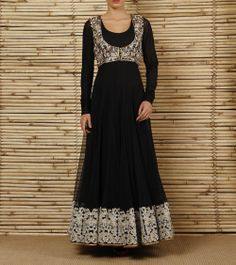 Black Net & Lycra Anarkali Suit with Embroidered Jacket