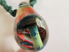 Hand Blown OOAK Glass Blue/Green Mushroom Pendant on Handmade Green Hemp Twist Necklace by EssentiallyErin on Etsy