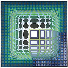 Koska Kar, Oil by Victor Vasarely (1906-1997, Hungary)