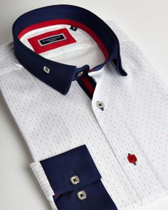 Franck Michel shirt | White reverse collar shirt with navy blue contrasting colors | fashion-shirts.com