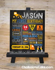 CONSTRUCTION Chalkboard Sign One Year Birthday by ChalkolateCake