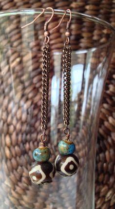 African bead earrings African earrings bone bead by ThriftyUpenyu, $17.00