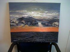 Zonsondergang in acrylverf