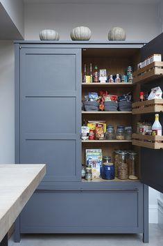 Kitchen Larder Ideas — Love Renovate Corner Larder Cupboard, Kitchen Larder Units, Kitchen Cupboards, New Kitchen, Kitchen Storage, Food Storage, Kitchen Ideas, Freestanding Kitchen, Oak Shelves