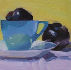 """""""Blue Cup and Plums"""" - Original Fine Art for Sale - © Robin Rosenthal"""