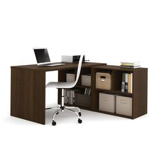 Elegant, smooth, and modern are the best words to describe this premium L-shaped office desk from Bestar. It is sturdy and made of very high quality materials, and its surfaces are coated in melamine