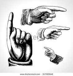 Retro pointing. Vintage and direction, finger-pointing and showing. Vector set retro Vintage pointing hand drawing