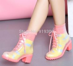 Cheap heel shoes for women, Buy Quality shoe packages directly from China shoes heel support Suppliers: New Hot Fashion Jelly Colors Women High Heels Transparent PVC Rain Boots Lace-up Clear Martin Rainboots Water Shoes Well Cheap Rain Boots, Short Rain Boots, Black Rain Boots, Rain Boots Fashion, Fashion Shoes, Transparent Boots, Cheap Heels, Combat Boots Style, Rothys Shoes