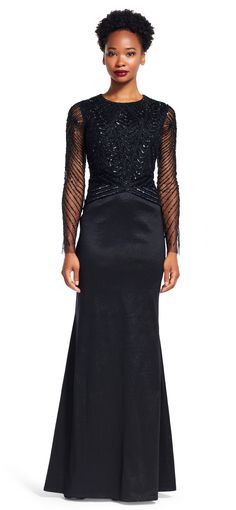 Arm yourself with this chic gown for your next formal event. Featuring sheer long sleeves, a circle neckline, and long taffeta mermaid skirt, this evening dress is a detail-lover's dream. The bodice of this gown is hand-beaded with precision in intricate line, chevron, and diamond designs. A large pleat at the train of the skirt adds dimension to the otherwise simple mermaid design.
