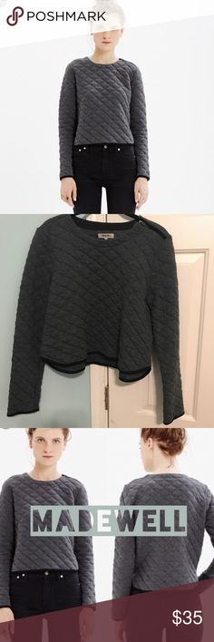 Madewell Gray quilted crop sweatshirt Gorgeous, excellent condition. Still on website for $75 as of this posting! Zipper detail on shoulder. Super soft cotton polyester blend. Charcoal gray with black trim and zipper. Madewell Tops Sweatshirts & Hoodies