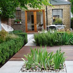 Architectural garden with mixed decking