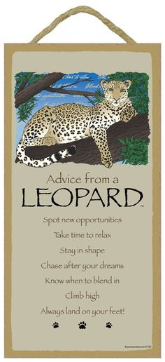 Leopard / Advice From A  5 x 10 Advice Sign by TheCarolinaTrader Life Advice, Good Advice For Life, Advice Quotes, Life Quotes, Nature Quotes, Advice Cards, Animal Spirit Guides, Spirit Animal, Wildlife Decor