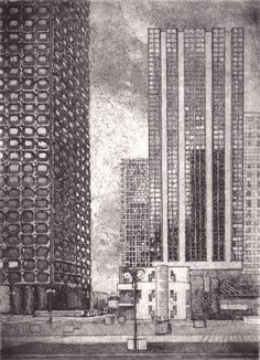 Mehdi Zannad Gravures | Architecture, Skyscraper, Multi Story Building, Aba, Archie, Collage, Illustrations, Etchings, Drawings