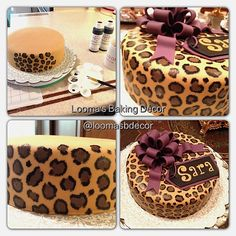 Cake Decorating Piping, Cake Decorating Tutorials, Cookie Decorating, Cheetah Print Cupcakes, Going Away Cakes, Wedding Cake Accessories, Leopard Cake, Girly Cakes, Animal Cakes