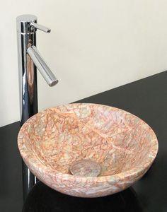 Round Pink Onyx Vessel Sink SB 029 By Super Bath