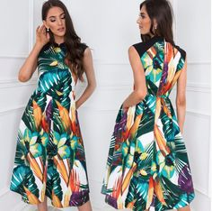 Chic Outfits, Fall Outfits, Summer Outfits, Fashion 2020, Luxury Fashion, Dresses To Wear To A Wedding, Knee Length Dresses, Leaf Prints, Glamour