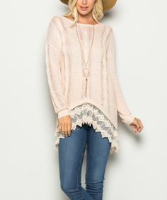 Another great find on #zulily! Blush Crochet-Accent Sidetail Top #zulilyfinds