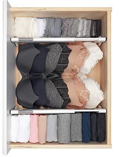 Organization bedroom - These drawers dividers help organize any drawer and are easy to install requiring no tools! Make organizing, tidying, simplifying and decluttering your bedroom fun and easy with these musthave Master Dresser Drawer Organization, Wardrobe Organisation, Clothing Organization, Organize Dresser Drawers, Organization Ideas For The Home, Lingerie Organization, Dorm Closet Organization, Organizing Ideas, Closet With Drawers
