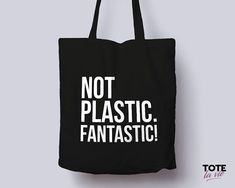 Not Plastic. / Tote Bag / Typography Tote Bag / Canvas Tote Bag / Grocery bag / Recycle / Original Design Cotton Tote - Tote Bags by ToteLaVie Sacs Tote Bags, Canvas Tote Bags, Mochila Tutorial, Sacs Design, Bag Quotes, Original Design, Vide Dressing, Jute Bags, Recycled Fashion
