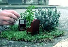 Street furniture: This tiny creation by Steve Wheen features a mini armchair and a television set as props