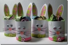 "So cute for Easter. bunny Easter ""basket"" made with recycled cans. Bunny Crafts, Easter Crafts For Kids, Hoppy Easter, Easter Bunny, Spring Crafts, Holiday Crafts, Toilet Paper Roll Crafts, Easter Traditions, Easter Projects"