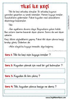 OKUMA ANLAMA METNİ – TİLKİ İLE KEÇİ TİLKİ İLE KEÇİ- Okuma anlama metni Özgün bir çalışma olarak pdf formatında hazırlanmıştır. Sitede bulunan çalışmaları özgün içerik.. Turkish Lessons, Learn Turkish Language, Classroom Rules, Reading Passages, Stories For Kids, Eminem, Drama, Student, Science