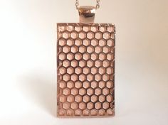 """Fitbit One pendant / necklace - Rectangle """"Honeycomb"""" Rose Gold tone with flesh pink leather"""