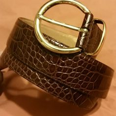 Fossil Belt. NEVER WORN. Brown leather croc print design. Has some scratches and peeling which comes off easily if rubbed. Clear polish works great. Accessories Belts