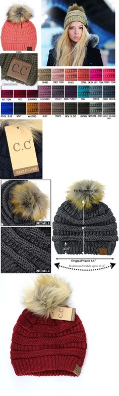 de0de0b920768e Hats 45230: Authentic Women Cc Beanie Soft Stretch Cable Knit Pompom C.C Beanie  Hat Caps