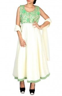 Green And Cream Anarkalli  Rs. 6,350
