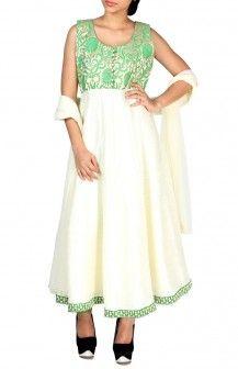 Green And Cream Anarkalli  Rs. 6,350