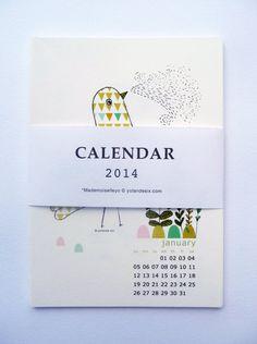 2014 Calendar  wall calendar 2014 por mademoiselleyo en Etsy, $15.00