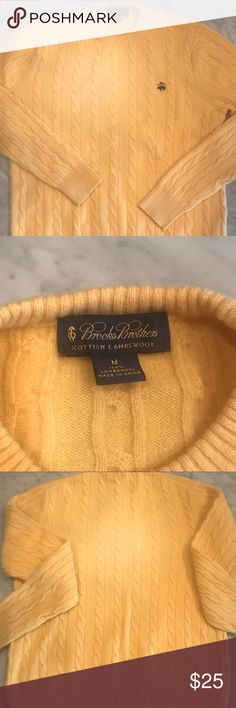 Brooks Brothers Scottish Lambswool Sweater Beautiful lambswool sweater by Brooks Brothers.  Yellow is the color right now!  And will transition into the fall.  I have this listed under the men's..but honestly I would wear it how I styled it in the last pic.  Throw on some boyfriend jeans & out the door!  Any man or lady could rock this!! NWOT Brooks Brothers Sweaters Crewneck
