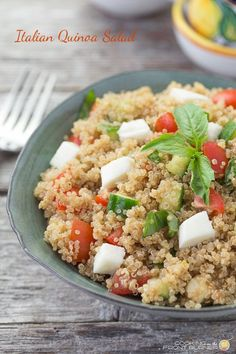 A very satisfying and tasty salad with quinoa, tomatoes, cucumbers, mozzarella cheese and fresh basil.  Pack this on in the picnic basket!
