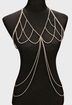 Boho Layered Body Chain Bra, Festival Chain Harness - Gold
