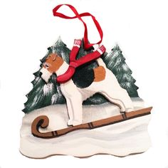 """Dogs on The Move"" Toboggan Snow Sled Dog Wood 3-D Hand Painted Ornament - Wire Haired Fox Terrier"