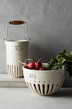 Dairy Pail Utensil Jar and veggie collander. Farmhouse style accessories that are functional and decorative at the same time. Ceramic Clay, Ceramic Bowls, Pottery Bowls, Ceramic Pottery, Tabletop, Pottery Classes, Kitchen Items, Kitchen Storage, Kitchen Shop