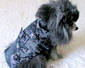 Dog Party Dress for Small Dogs - Black & Silver Lace-Patterned Rayon with Bow and Black Satin Panel Made to Order https://www.etsy.com/listing/129340928/dog-party-dress-for-small-dogs-black?ref=tre-2725210679-1