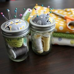 We {love} these Ball Jar sewing kits made by @Sandra Smithers 'Til Your Father Gets Home {Meredith Hazel} :) they're SO cute!