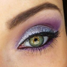 Silver and purple eye make-up