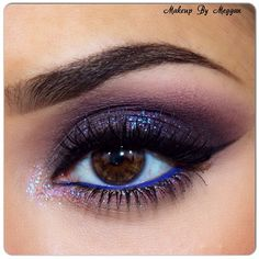 @Makeup By Meggan |Crazy about purple! anastasia chocolate Dipbrow, cream shadow for highlight; makeupgeek drama queen; eyekandy jellybean glitter; houseoflashes au naturale lashes; inglot #82 on waterline; motivescosmetics Little black dress liner.