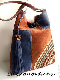 """Купить Сумка """"Небо и земля"""" - коричневый, синий, синий и коричневый, сумка замшевая, Сумка с вышивкой"""