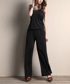 Love this Black Sleeveless Camisole Jumpsuit by Reborn Collection on #zulily! #zulilyfinds