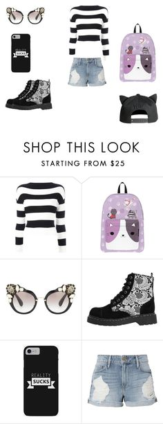 """What i would wear/have irl!"" by rhiannahrocks ❤ liked on Polyvore featuring Boutique Moschino, Miu Miu, T.U.K., Frame and H&M"