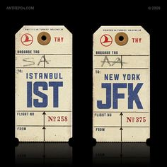 Old luggage tags for #JFK and #IST. #LuggageTag