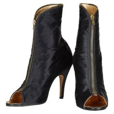 Original 1970s Terry de Havilland Satin Peep Toe Boots Size US 8.5 IT 39.5 | From a collection of rare vintage shoes at https://www.1stdibs.com/fashion/accessories/shoes/